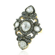 Oxidized Uncut Diamond Vintage Ring 925 Sterling Silver Handmade Jewelry Size 7