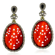 43.2ct Agate Black Onyx Diamond Dangle Earrings 18kt Gold Silver Carving Jewelry