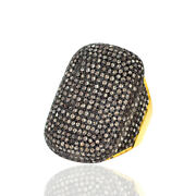 5.54ct Pave Diamond 18k Solid Gold Vintage Look Ring 925 Sterling Silver Jewelry