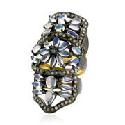 4.9ct Moonstone Diamond Knuckle Armor Ring 18kt Gold 925 Sterling Silver Jewelry