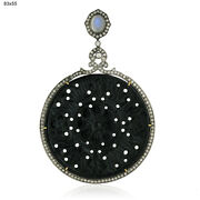 64.81ct Gemstone Diamond 18kt Gold .925 Sterling Silver Carving Pendant Jewelry