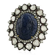 27.9 Ct Carved Sapphire Rose Cut Diamond Ring 18kt Gold Sterling Silver Jewelry