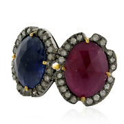 9.5ct Blue Sapphire Ruby Ring Pave Diamond 18kt Gold 925 Sterling Silver Jewelry