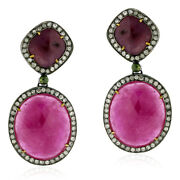 Pave Diamond 59.3ct Sapphire 18kt Gold Sterling Silver Dangle Earrings Jewelry