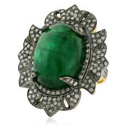 18k Gold Sterling Silver Natural Emerald 1.47ct Pave Diamond Cocktail Ring Gift
