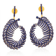 18k Gold Sterling Silver Pave Blue Sapphire Handmade Feather Dangle Earrings