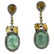 Carved Tourmaline 18k Gold Pave Diamond Dangle Earrings Sterling Silver Jewelry