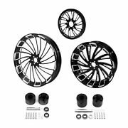 21 Front 18and039and039rear Wheel Rim Disc Hub Pulley Sprocket Fit For Harley Touring 08+