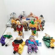 Bakers Dozen Of Vintage Clowns All Porcelain Heads W/cloth Body Dolls Collector