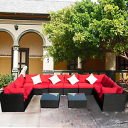 12 Pcs Outdoor Patio Furniture Sets Red Rattan Sofa With Cushion And Clips Pe