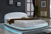 Us Pride Furniture White Leather With Flexible Led Decoration Strip Light Contem