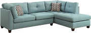 Acme Furniture Larissa Sectional Sofa With Ottoman, Light Teal Linen