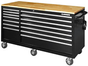 Husky 62 In. 14-drawer Mobile Workbench With Solid Wood Top Black