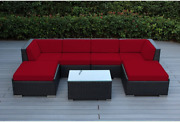 Ohana 7-piece Patio Wicker Sectional Sofa Set With Cover Red