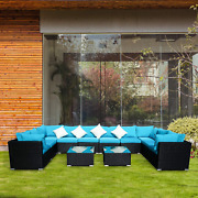 12 Pcs Outdoor Patio Furniture Sets Blue Rattan Sofa With Cushion And Clips Pe