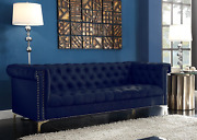 Iconic Home Gold Navy Blue Winston Pu Button Tufted With Nail Head Trim Tone Met