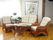 Jam Lounge Set Of 4 2 Natural Rattan Wicker Chairs Loveseat With Cream Cushion
