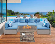 Sunbury 7 Pieces Patio Furniture Set With Fire Table, Pe Wicker Outdoor Sectiona