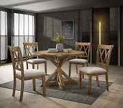 Roundhill Furniture Windvale Cross-buck Wood 5-piece Dining Set Brown