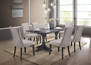 Best Quality Furniture Modern Light Gray Linen Look 7 Piece Upholstered Dining S