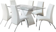 Furniture Of America Rivendale 7-piece Modern Dining Table Set With 12mm Tempere
