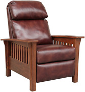 Barcalounger Mission 7-3323 Craftsman All Leather Push Back Manual Recliner Ch