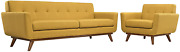Modway Engage Mid-century Modern Upholstered Sofa And Armchair Set In Citrus