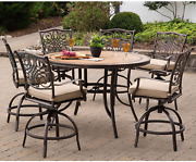 Hanover Mondn7pcbr-c-p Monaco 7-piece High-dining Set In Tan With A 56 In. Tile-