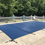 Waterwarden Inground Pool Safety Cover Fits 25andrsquo X 45andrsquo Blue Mesh Andndash Easy Install