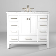 Eviva Aberdeen 48 Transitional White Bathroom Vanity With White Carrara Counter