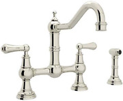 Rohl U.4756l-pn-2 Perrin And Rowe Provence Lever Handle Bridge Kitchen Faucet Wi