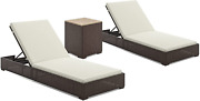 Homestyles 6800-83d-t Palm Springs Outdoor Chaise Lounge Pair And Side Table, 3p