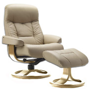 Fjords Muldal Large Leather Ergonomic Recliner Chair With Ottoman In Sandel Nl 1