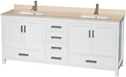 Sheffield 80 Inch Double Bathroom Vanity In White Ivory Marble Countertop Unde