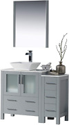Blossom Sydney 42 Inches Single Bathroom Vanity Vessel Sink And Side Cabinet Wi