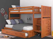 Mission Twin Over Full Staircase Bunk Bed With Trundle, Desk, Hutch, Chair And E