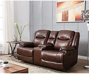 Anj Genuine Leather Sectional Sofa 2 Person Loveseats With Console And Cup Holde
