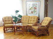 Malibu Lounge Set Of 4 2 Natural Rattan Wicker Chairs Loveseat With Light Brow