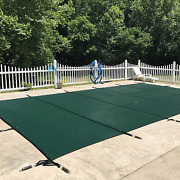Waterwarden Inground Pool Safety Cover Fits 25andrsquo X 45andrsquo Green Mesh Andndash Easy Instal