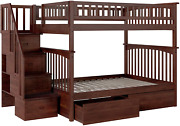 Columbia Staircase Bunk Bed With 2 Flat Panel Bed Drawers Full Over Full Antiq