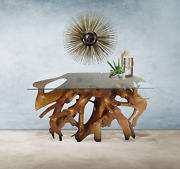 Genuine Teak Wood Root Console Table With Glass Top 48 Inch Made By Chic Teak