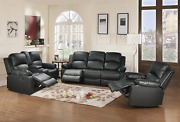 Beverly Fine Funiture Bonded Leather Drop Down Table, 5, 1 Black, 3 Piece Reclin