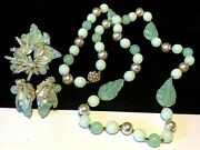 Miriam Haskell Set Rare Vintage Mint Green Glass Necklace Brooch Earrings Signed