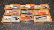 """Bomber Lot Of 9 Boxed Vintage Fishing Lures 3-4"""" Long, 5 Nos, Some W Paperwork"""