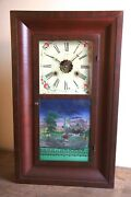 New Haven Clock Co. Ogee Shelf Clock With And039greenwood Cemeteryand039 Panel