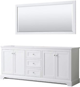 Avery 80 Inch Double Bathroom Vanity In White, No Countertop, No Sinks, And 70 I