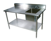 John Boos Ept6r5-3060gsk-r Stainless Steel Prep Table With Sink Bowl Galvanized