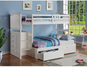 Donco Kids Arch Mission Stairway Bunkbed With Full Extension And Underbed Drawer