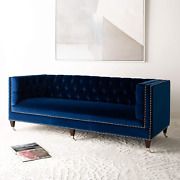 Safavieh Couture Collection Miller Navy Velvet Tufted Sofa