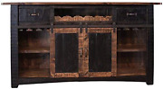 Crafters And Weavers Greenview 76 Black Bar With Wine Rack 2 Drawers Barn Doors